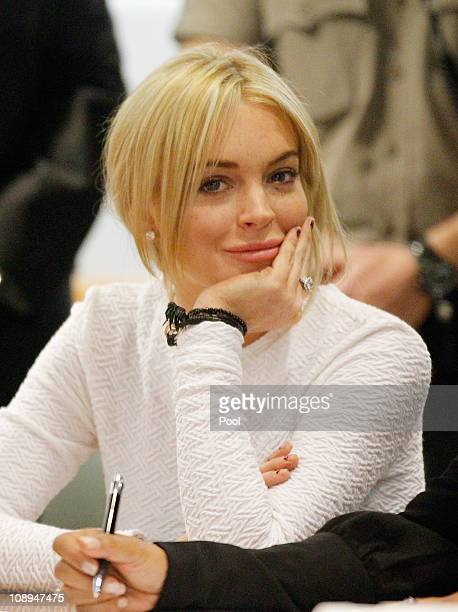 Actress Lindsay Lohan during her arraignment for a felony count of grand theft on February 9 2011 in Los Angeles California Lohan was charged with a...