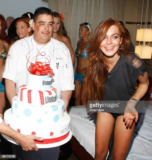 Actress Lindsay Lohan is presented with a birthday cake as she appears at the Wet Republic pool at the MGM Grand Hotel/Casino to celebrate her...