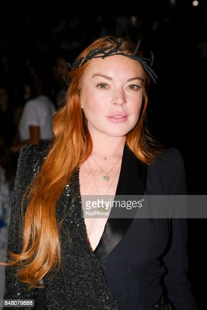 Actress Lindsay Lohan is seen at the Malne show during MercedesBenz Fashion Week Madrid Spring/Summer 2018 at Ifema on September 15 2017 in Madrid...