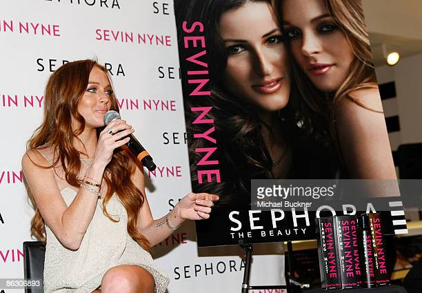 Actress Lindsay Lohan speaks at the launch of Sevin Nyne By Lindsay Lohan held at Sephora on April 30 2009 in Santa Monica California