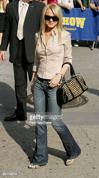 Actress Lindsay Lohan stops by the 'Late Show with David Letterman' June 21 2005 in New York City