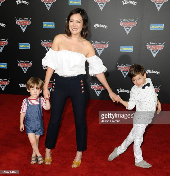 Actress Lindsay Price and children Emerson Spencer Stone and Hudson Stone attend the premiere of 'Cars 3' at Anaheim Convention Center on June 10...