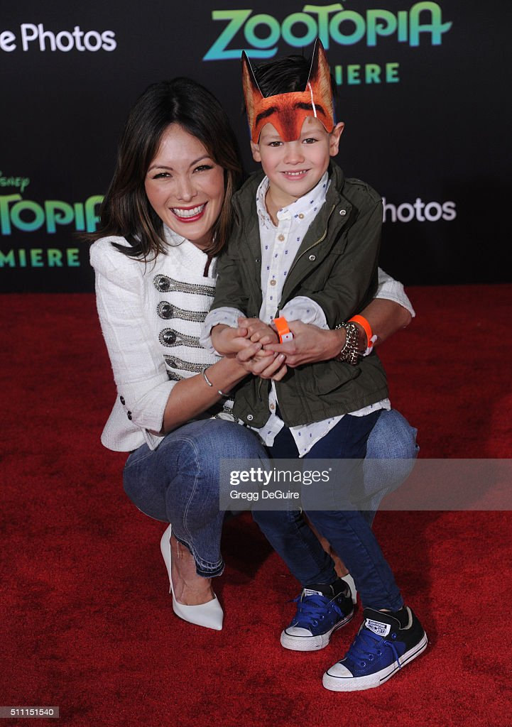 Actress Lindsay Price and Hudson Stone arrive at the premiere of Walt Disney Animation Studios' 'Zootopia' at the El Capitan Theatre on February 17...