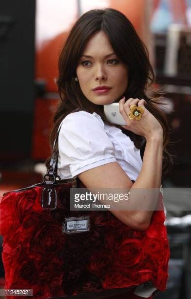 Actress Lindsay Price seen on the set of the TV show 'Lipstick Jungle' on the streets of Manhattan July 10 2008 in New York City