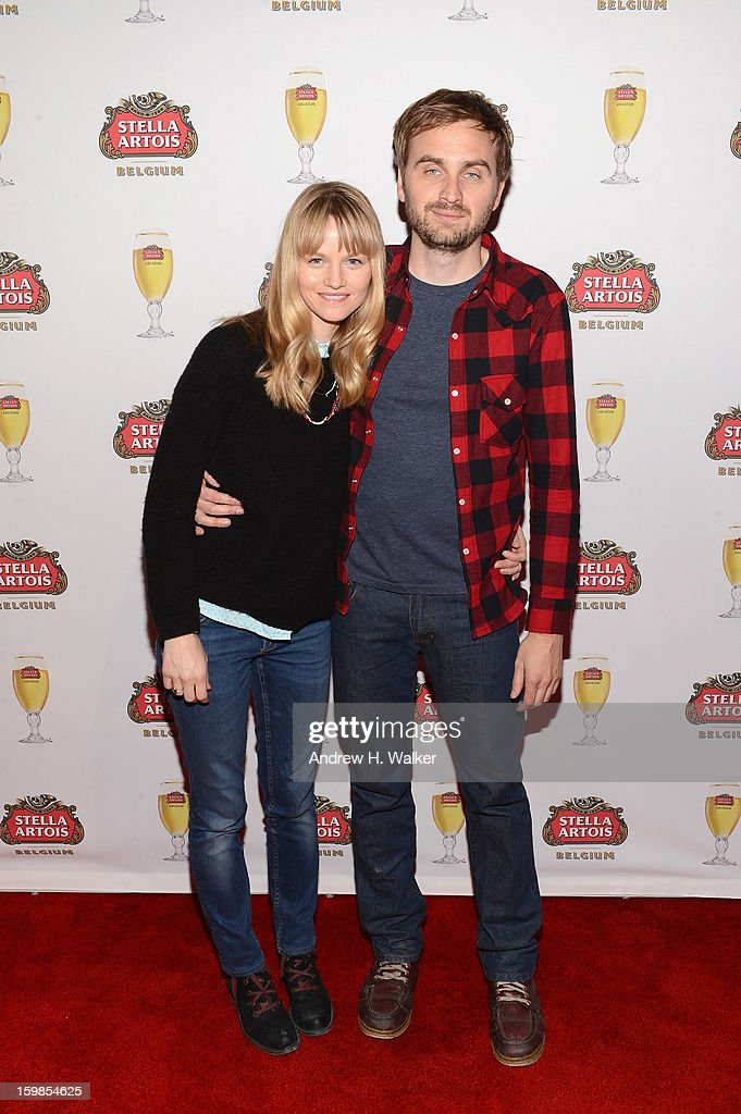Actress Lindsay Pulsipher and director Calvin Lee Reeder attend the Stella Artois press junket for 'The Ramblers' at Village at the Lift on January 21, 2013 in Park City, Utah.