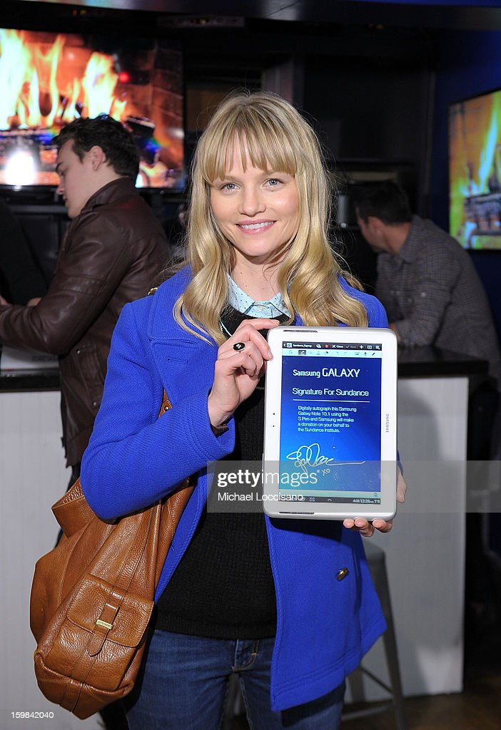 Actress <a gi-track='captionPersonalityLinkClicked' href=/galleries/search?phrase=Lindsay+Pulsipher&family=editorial&specificpeople=572940 ng-click='$event.stopPropagation()'>Lindsay Pulsipher</a> attends Day 4 of Samsung at Village At The Lift 2013 on January 21, 2013 in Park City, Utah.