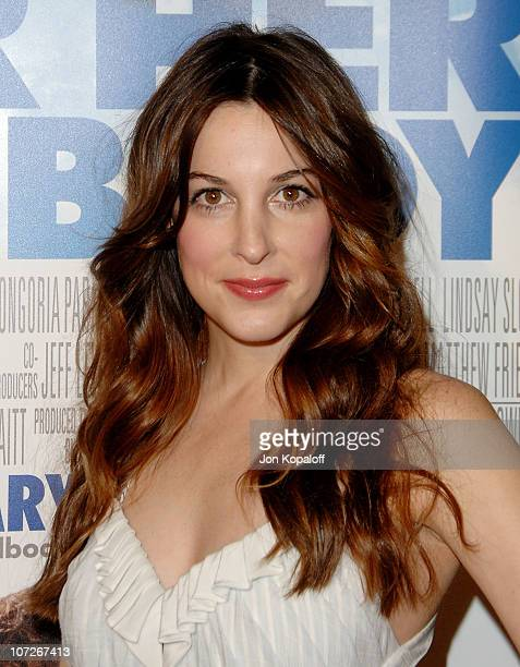 Actress Lindsay Sloane arrives at the Los Angeles Premiere 'Over Her Dead Body' at the ArcLight Hollywood Theater on January 29 2008 in Hollywood...