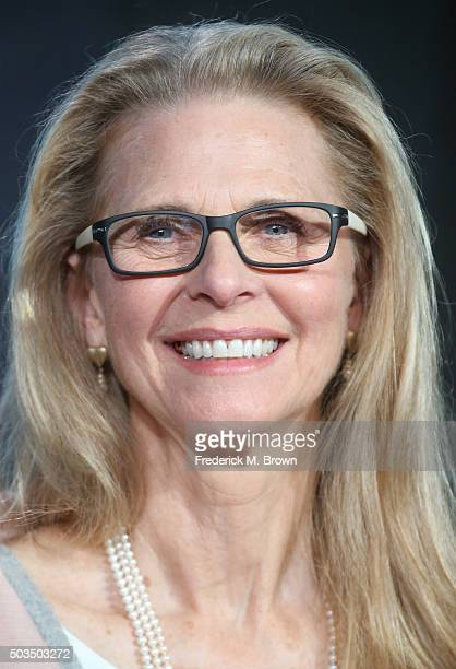 Actress Lindsay Wagner speaks onstage during the 'Love Finds You in Valentine' panel as part of the UP portion of This is Cable 2016 TCA Press Tour...