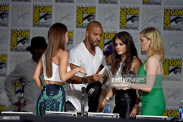 Actress Lindsey Morgan actor Ricky Whittle actress Marie Avgeropoulos and actress Eliza Taylor attend a special video presentation and panel for 'The...