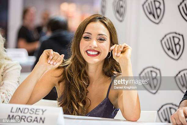 Actress Lindsey Morgan attends 'The 100' autograph signing at ComicCon International 2016 Day 2 on July 22 2016 in San Diego California