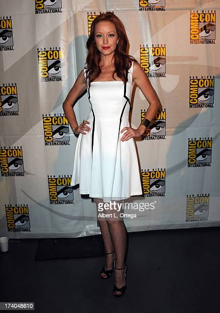 Actress Lindy Booth attends the 'KickAss 2' and 'Riddick' Panels during ComicCon International 2013 at San Diego Convention Center on July 19 2013 in...