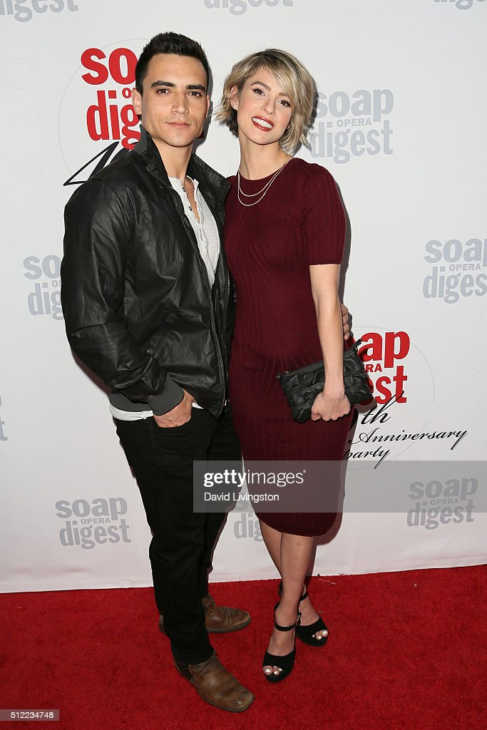 Actress Linsey Godfrey (R) and guest arrive at the 40th Anniversary of the Soap Opera Digest at The Argyle on February 24, 2016 in Hollywood, California.