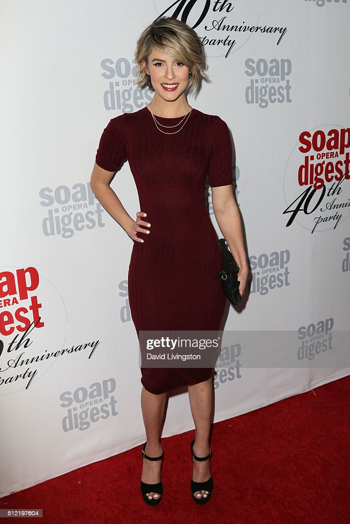 Actress <a gi-track='captionPersonalityLinkClicked' href=/galleries/search?phrase=Linsey+Godfrey&family=editorial&specificpeople=7905776 ng-click='$event.stopPropagation()'>Linsey Godfrey</a> arrives at the 40th Anniversary of the Soap Opera Digest at The Argyle on February 24, 2016 in Hollywood, California.