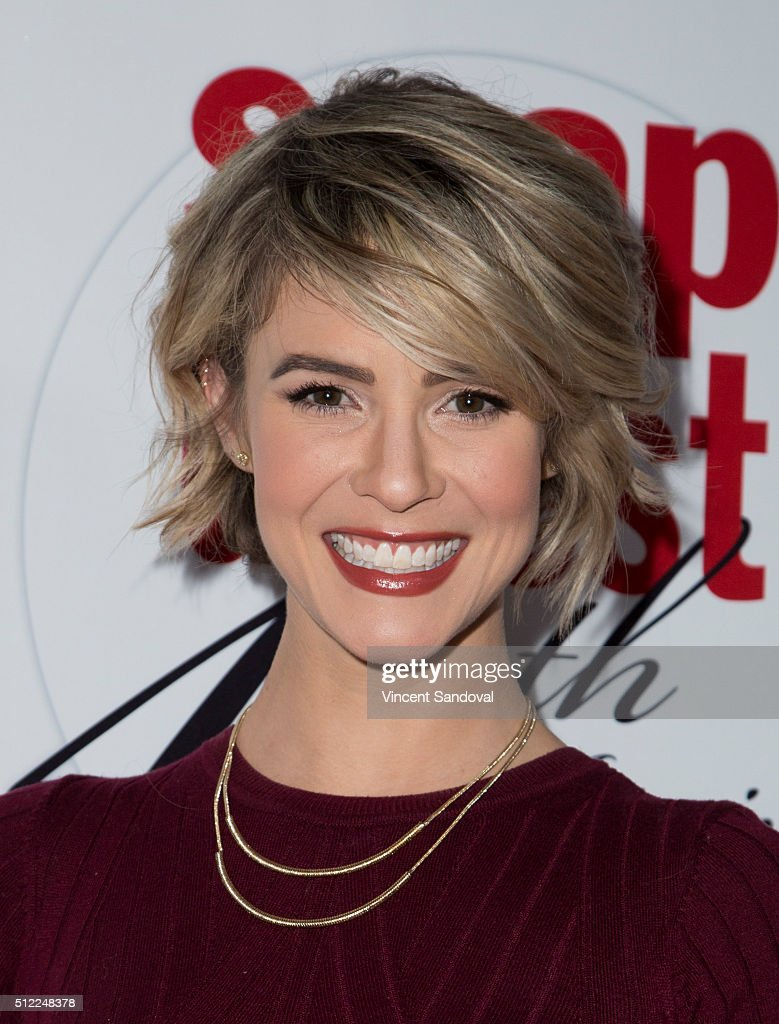 Actress <a gi-track='captionPersonalityLinkClicked' href=/galleries/search?phrase=Linsey+Godfrey&family=editorial&specificpeople=7905776 ng-click='$event.stopPropagation()'>Linsey Godfrey</a> attends Soap Opera Digest Celebrates 40th Anniversary at The Argyle on February 24, 2016 in Hollywood, California.