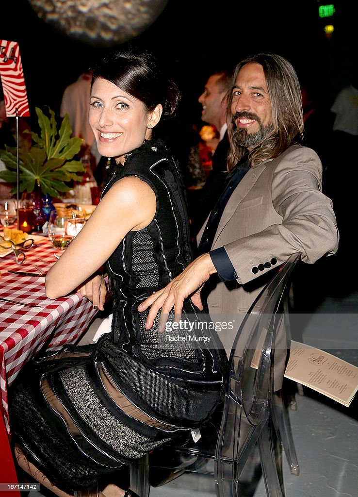 Actress <a gi-track='captionPersonalityLinkClicked' href=/galleries/search?phrase=Lisa+Edelstein&family=editorial&specificpeople=216555 ng-click='$event.stopPropagation()'>Lisa Edelstein</a> (L) and Robert Russell attend 'Yessss!' MOCA Gala 2013, celebrating the opening of the exhibition Urs Fischer - Ferrari at MOCA Grand Avenue on April 20, 2013 in Los Angeles, California.