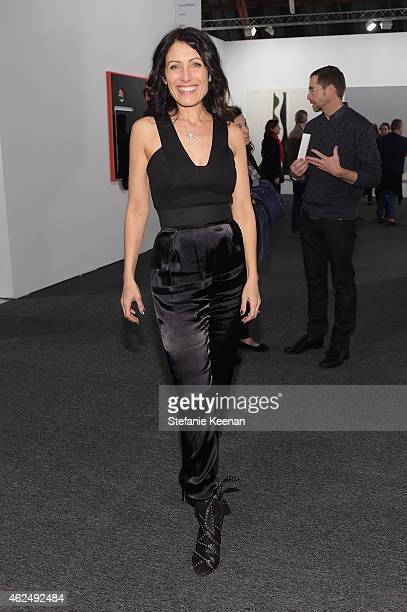 Actress Lisa Edelstein attends the Art Los Angeles Contemporary 2015 Opening Night at Barker Hangar on January 29 2015 in Santa Monica California