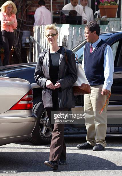 Actress Lisa Kudrow walks to her car outside The Ivy restaurant February 19 2002 in Los Angeles CA