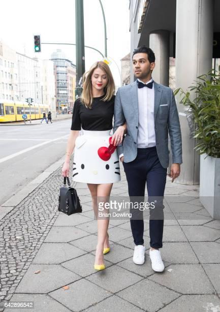 Actress Lisa Marie Koroll seen in her Hello Kitty dress by Berlin designer Marina Hoermanseder and yellow heels by Zalando with costar Altamasch Noor...