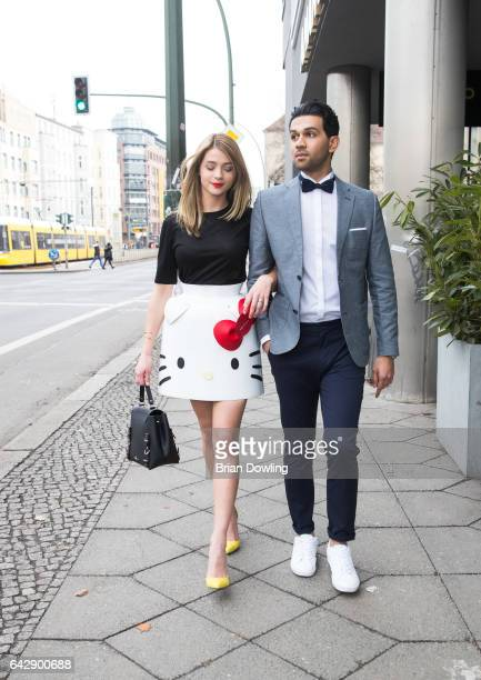 Actress Lisa Marie Koroll seen in her Hello Kitty dress by Berlin designer Marina Hoermanseder and yellow heels by Zalando with a costar before their...