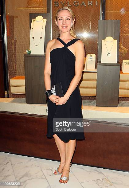 Actress Lisa McCune arrives at the launch of the new Bulgari store at Crown on October 19 2011 in Melbourne Australia