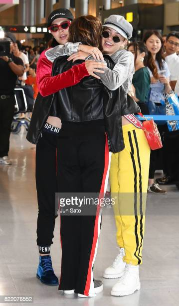Actress Lisa Rinna Amelia Gray Hamlin and Delilah Belle Hamlin are seen upon arrival at Narita International Airport on July 25 2017 in Narita Japan