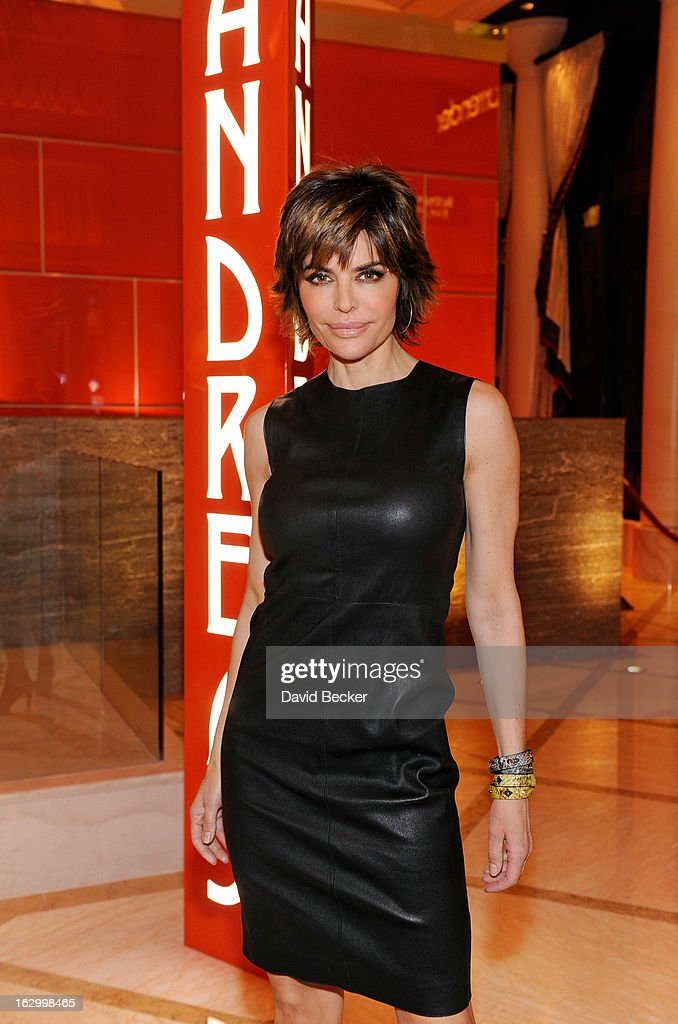 Actress Lisa Rinna arrives at Andrea's at Encore Las Vegas to celebrate the season premiere of 'All-Star Celebrity Apprentice' on March 2, 2013 in Las Vegas, Nevada.