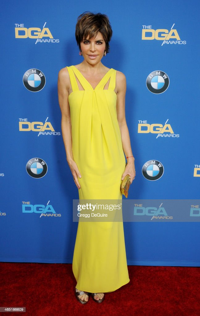 Actress <a gi-track='captionPersonalityLinkClicked' href=/galleries/search?phrase=Lisa+Rinna&family=editorial&specificpeople=202100 ng-click='$event.stopPropagation()'>Lisa Rinna</a> arrives at the 66th Annual Directors Guild Of America Awards at the Hyatt Regency Century Plaza on January 25, 2014 in Century City, California.
