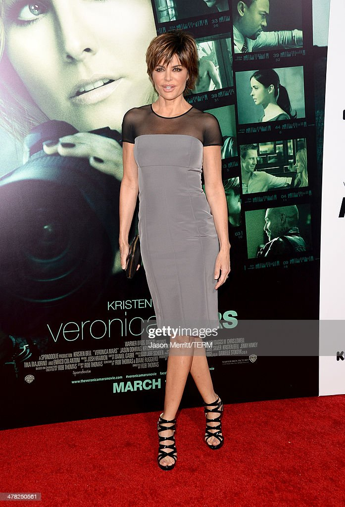 Actress Lisa Rinna arrives at the Los Angeles premiere of 'Veronica Mars' at TCL Chinese Theatre on March 12 2014 in Hollywood California