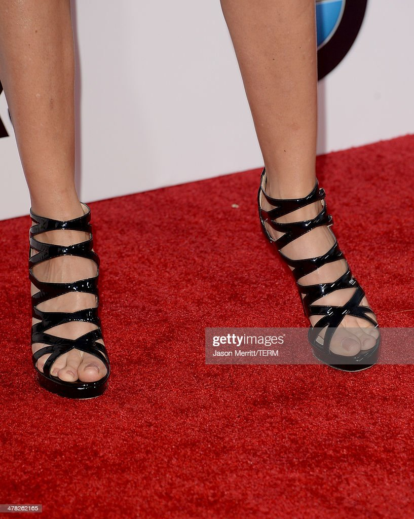 Actress Lisa Rinna (shoe detail) arrives at the Los Angeles premiere of 'Veronica Mars' at TCL Chinese Theatre on March 12, 2014 in Hollywood, California.