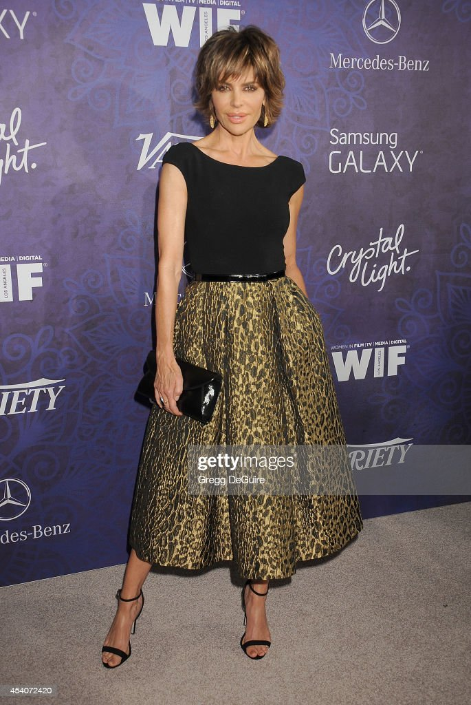 Actress <a gi-track='captionPersonalityLinkClicked' href=/galleries/search?phrase=Lisa+Rinna&family=editorial&specificpeople=202100 ng-click='$event.stopPropagation()'>Lisa Rinna</a> arrives at the Variety And Women In Film Annual Pre-Emmy Celebration at Gracias Madre on August 23, 2014 in West Hollywood, California.