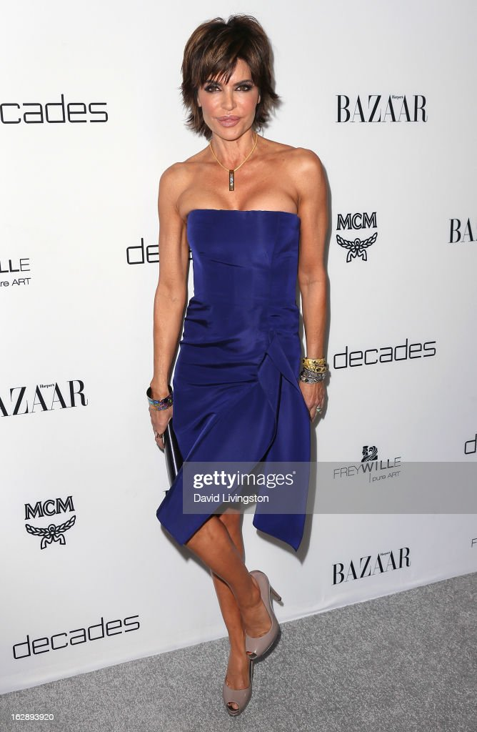 Actress Lisa Rinna attends the Harper's BAZAAR celebration of Cameron Silver and Christos Garkinos of Decades new Bravo series 'Dukes of Melrose' at The Terrace at Sunset Tower on February 28, 2013 in West Hollywood, California.