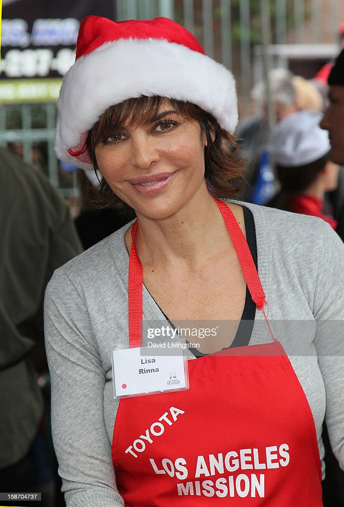 Actress Lisa Rinna attends the Los Angeles Mission's Christmas Eve for the homeless at the Los Angeles Mission on December 24, 2012 in Los Angeles, California.