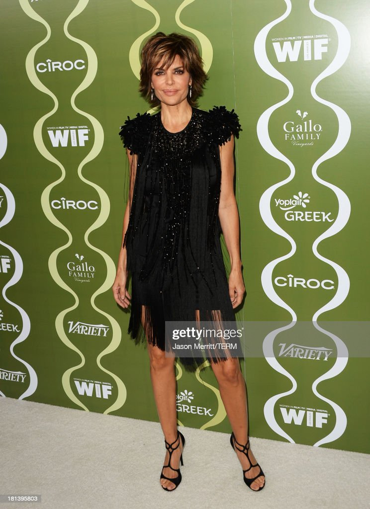 Actress <a gi-track='captionPersonalityLinkClicked' href=/galleries/search?phrase=Lisa+Rinna&family=editorial&specificpeople=202100 ng-click='$event.stopPropagation()'>Lisa Rinna</a> attends Variety & Women In Film Pre-Emmy Event presented by Yoplait Greek at Scarpetta on September 20, 2013 in Beverly Hills, California.