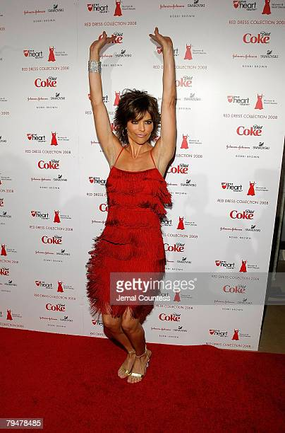 Actress Lisa Rinna backstage at the Red Dress Fashion Show sponsored by Diet Coke at Bryant Park on February 1 2008 in New York City