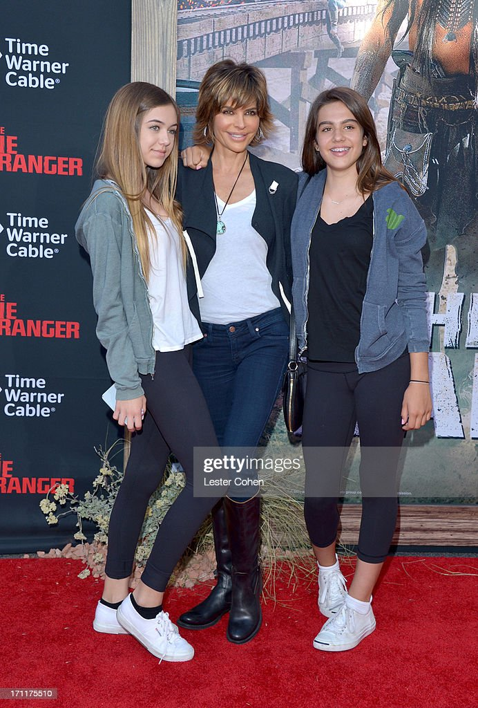 Actress Lisa Rinna (C), daughters Delilah Belle Hamlin and Amelia Gray Hamlin arrive at Disney's 'The Lone Ranger' World Premiere at Disney's California Adventure on June 22, 2013 in Anaheim, California.