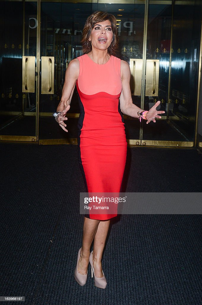Actress Lisa Rinna leaves the 'Today Show' taping at the NBC Rockefeller Center Studios on March 18, 2013 in New York City.