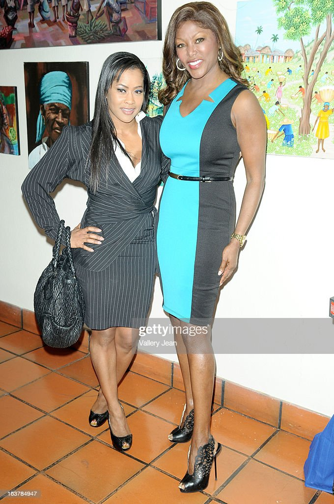 Actress Lisa Wu and Trina Robinson attends the Jazz in the Gardens Women's Conference and Luncheon at Shula's Hotel Gold Club on March 15 2013 in...