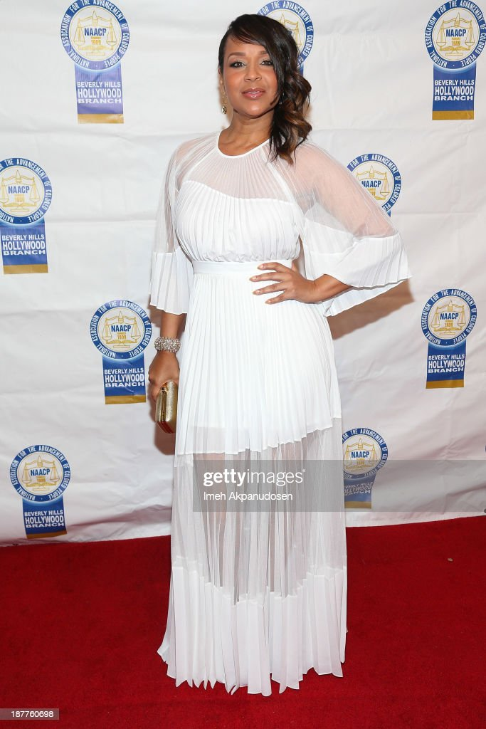 Actress <a gi-track='captionPersonalityLinkClicked' href=/galleries/search?phrase=LisaRaye+McCoy&family=editorial&specificpeople=198881 ng-click='$event.stopPropagation()'>LisaRaye McCoy</a> attends the 23rd Annual NAACP Theatre Awards at Saban Theatre on November 11, 2013 in Beverly Hills, California.