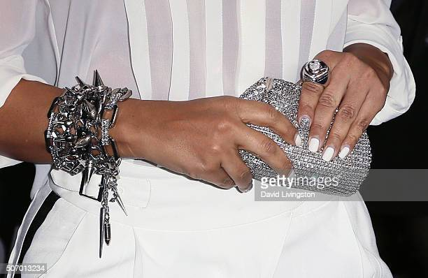 Actress LisaRaye McCoy purse jewelry detail attends the premiere of Open Roads Films' 'Fifty Shades of Black' at Regal Cinemas LA Live on January 26...