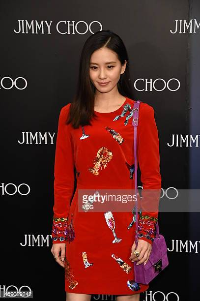 Actress Liu Shishi attends commercial activity of the opening of Jimmy Choo at Shin Kong Place on November 14 2014 in Beijing China