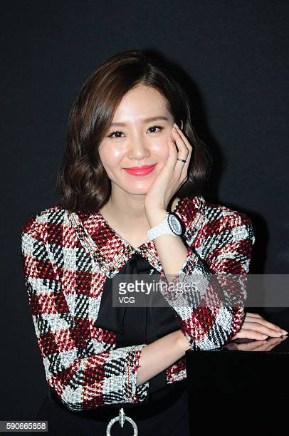 Actress Liu Shishi poses during the press conference of Chanel J12XS watch on August 16 2016 in Shanghai China