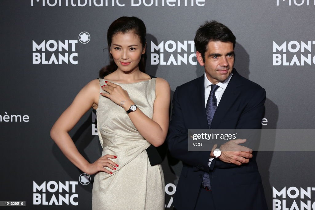 Actress Liu Tao and CEO of Montblanc International Jerome Lambert attend the Montblanc Boheme Collection launch event at The Peninsula Shanghai on...
