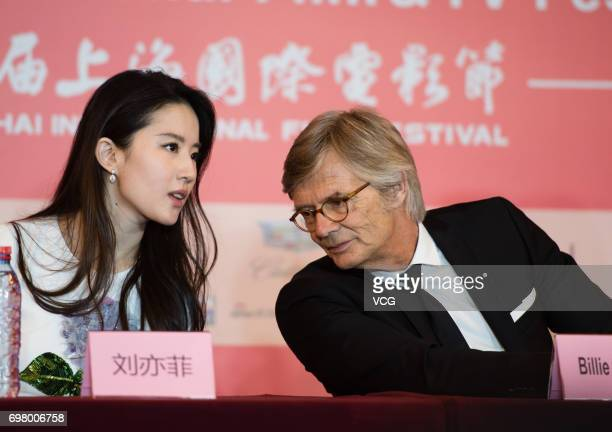 Actress Liu Yifei and Danish director Bille August attend the press conference of film 'The Chinese Widow' during the 20th International Film...