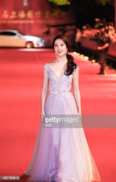 Actress Liu Yifei walks the red carpet at the 17th Shanghai International Film Festival on June 14 2014 in Shanghai China
