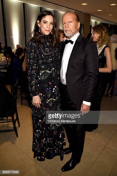 Actress Liv Tyler and actor Bruce Willis attend an evening honoring Valentino at Lincoln Center Corporate Fund Black Tie Gala on December 7 2015 in...