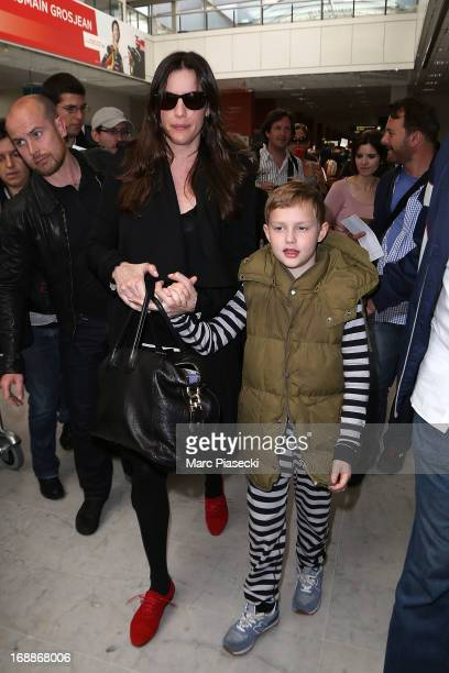 Actress Liv Tyler and her son Milo William Langdon arrive at Nice airport to attend the 66th annual Cannes Film Festival on May 16 2013 in Nice France