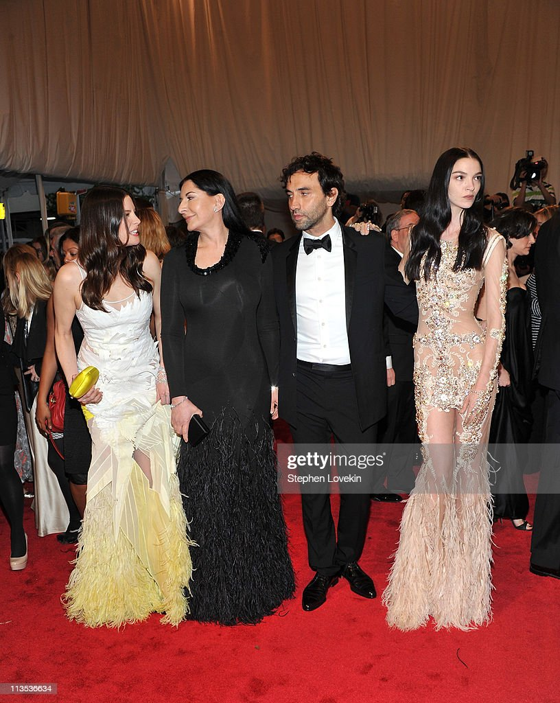 Actress Liv Tyler, artist Marina Abramovic, designer Riccardo Tischi and model Mariacarla Boscono attend the 'Alexander McQueen: Savage Beauty' Costume Institute Gala at The Metropolitan Museum of Art on May 2, 2011 in New York City.