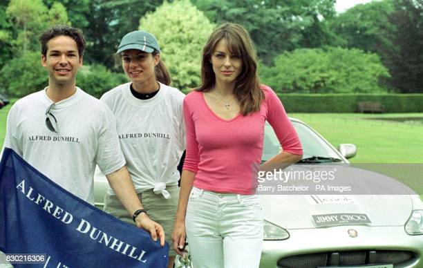 Actress Liz Hurley joins friends Henry DentBrocklehurst and wife Lili at the start of the Trivial Pursuit Rally Mr DentBrocklehurst will be driving...