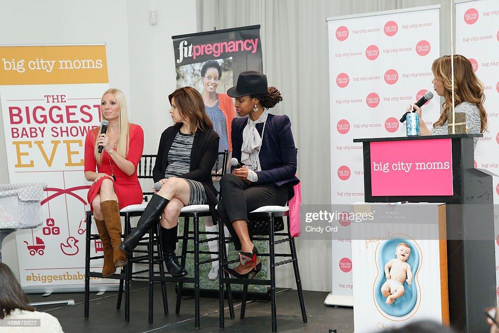 Actress Liza Huber Journalist Jenna Wolfe Mama Glow Founder Latham Thomas and Carolina Bermudez speak onstage during Big City Moms Biggest Baby...
