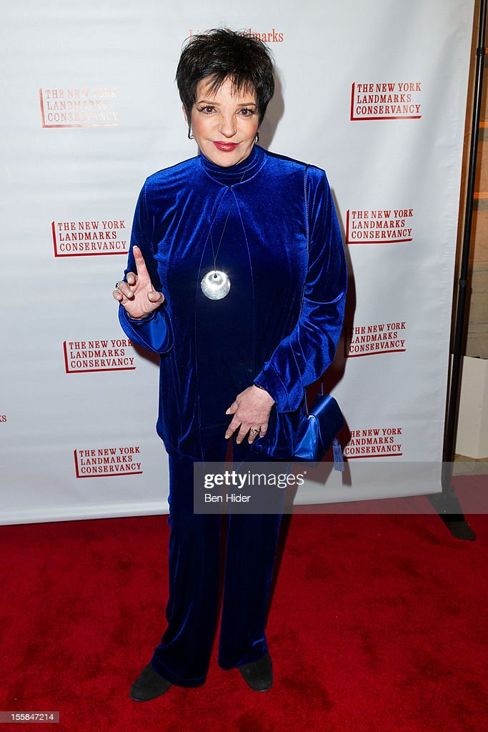 Actress <a gi-track='captionPersonalityLinkClicked' href=/galleries/search?phrase=Liza+Minnelli&family=editorial&specificpeople=121547 ng-click='$event.stopPropagation()'>Liza Minnelli</a> attends the 2012 Living Landmarks Celebration at The Plaza on November 8, 2012 in New York City.